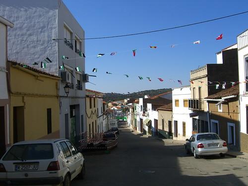Flags strung across street