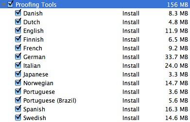 Proofing tool sizes for various languages