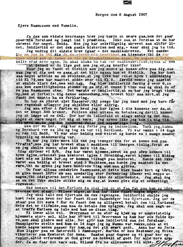 Letter to R Rasmussen - Aug 1907