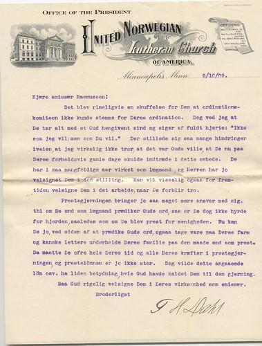 Letter to RJR from Rev T Dahl 1909