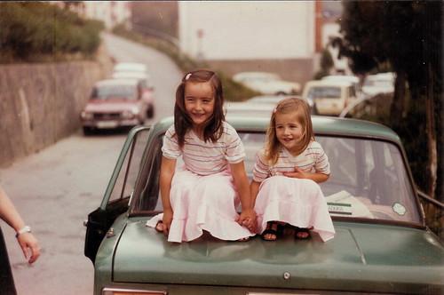 Marga and Belén On Car