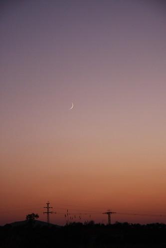 Moon Sliver Over Sunset