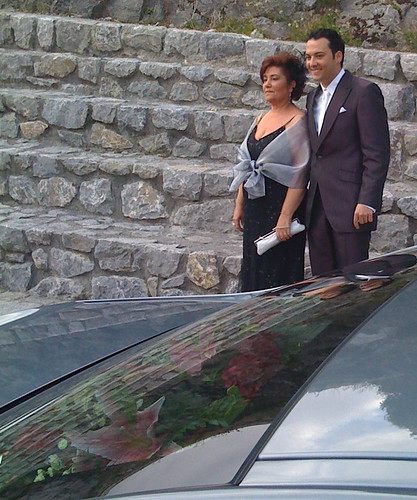 Groom and Mother with car reflection