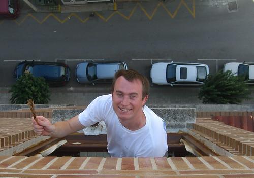 On a ledge