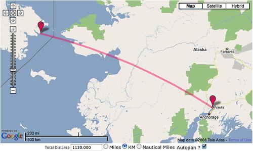 Distance from Wasilla, Alaska, to Russia