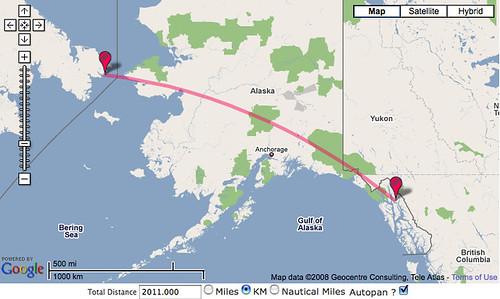 Distance from Juneau, Alaska, to Russia