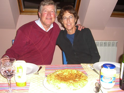 Paul and Betsy eating Spanish food