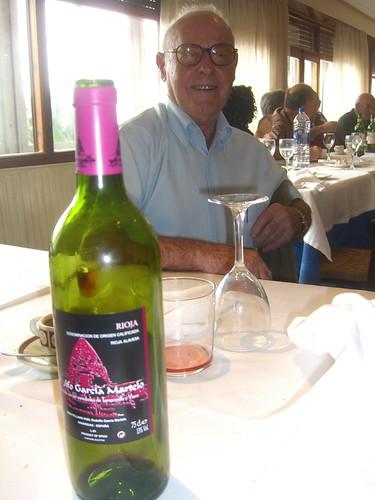 Abuelo and wine bottle