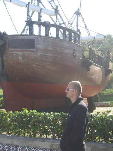 Robert and a Columbus boat