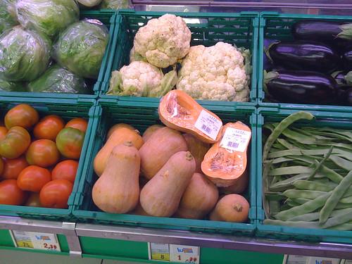 Pumpkins in supermarket