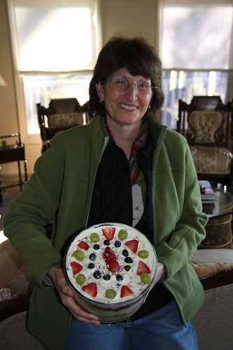 Linda poses with her trifle