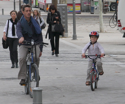 French Father & Son on Bikes