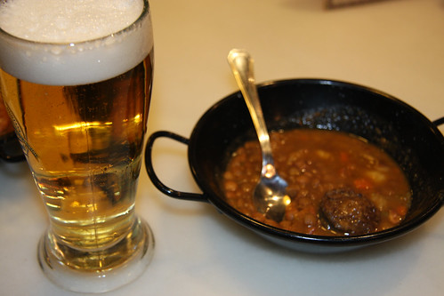 Lentils with beer