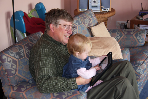 Nora and Grandpa using her iPad
