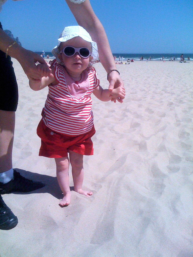 Nora's first trip to the beach
