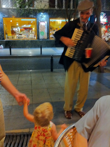 Nora dancing to street accordian music
