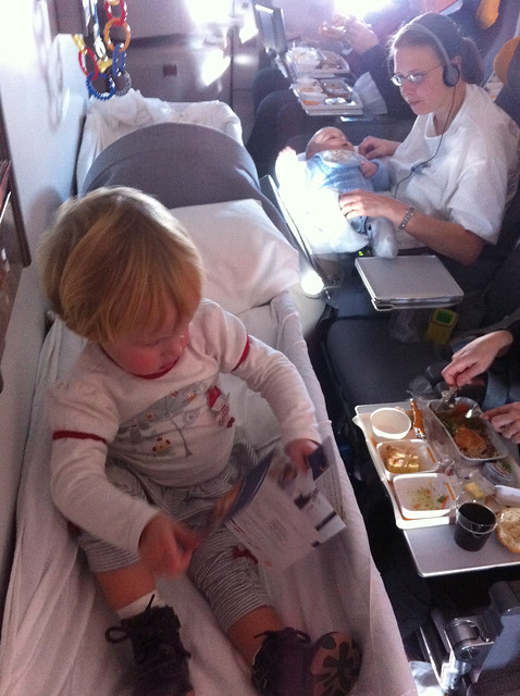 Nora in her Lufthansa Bassinet