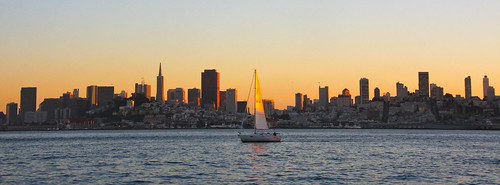San Francisco Skyline, Sunset, Sailboat