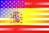 Spain and USA Flags Merged