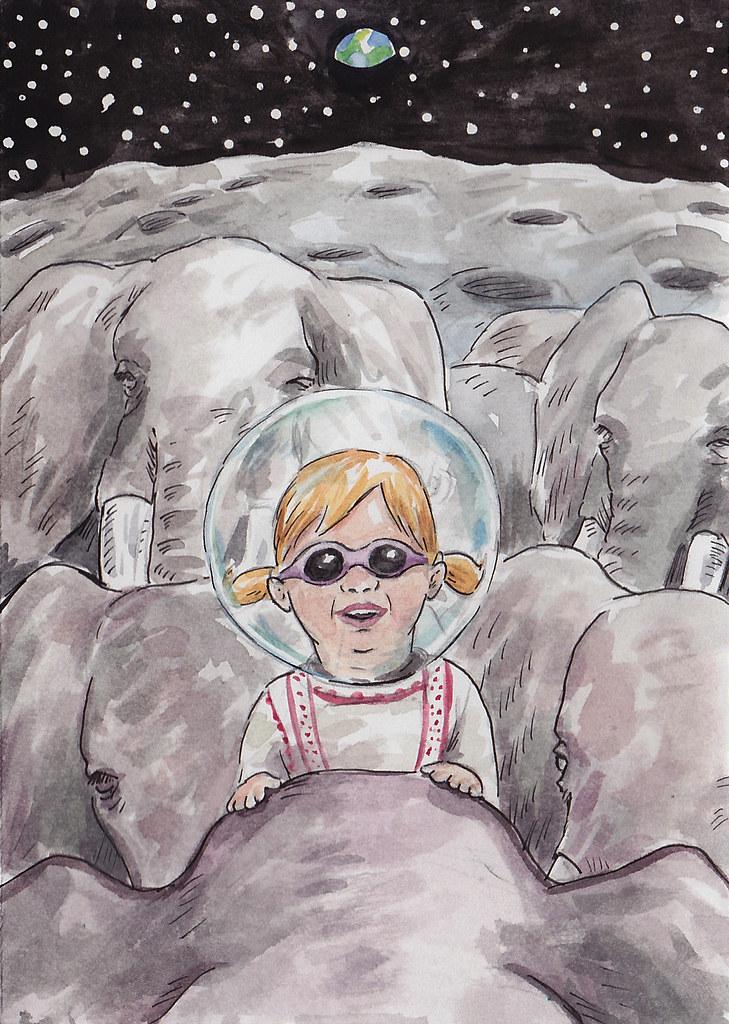 Nora Riding Elephants On The Moon
