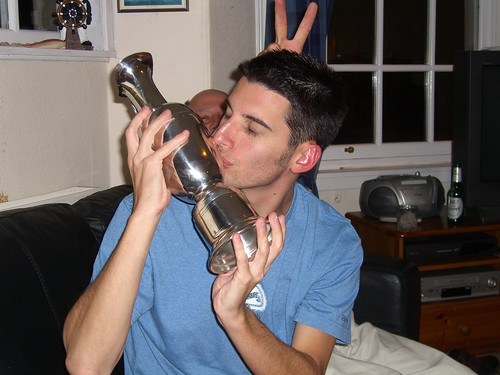 Jacob gets friendly with the claret jug