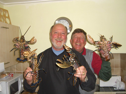 Four lobsters and two friends