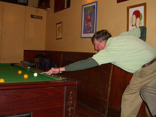 Paul lines up a shot
