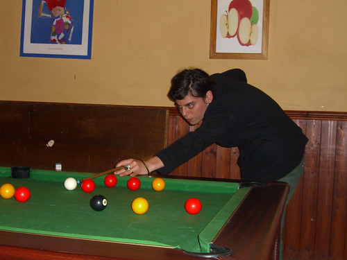 Margot plays pool in Anstruther