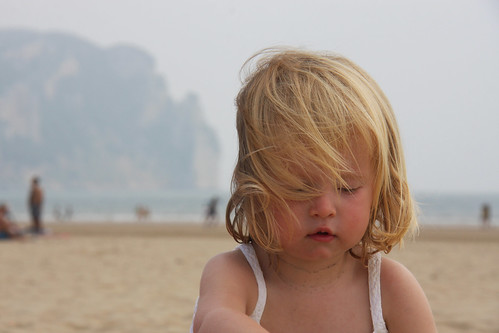 Nora on the beach in Laredo