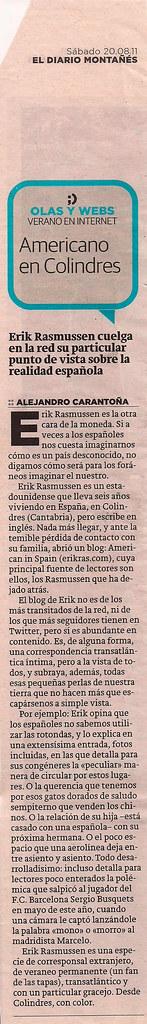 Americano en Colindres, Diario Montañes
