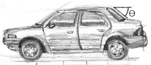 Car Sketch - Rear Window Angle