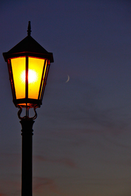 Lamppost and Moon