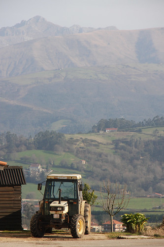 Tractor and Mountains