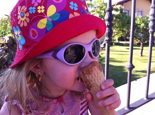 Eating a Chocolate Ice Cream Cone