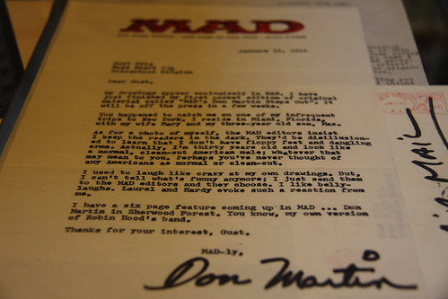 Letter from Don Martin to MAD Magazine