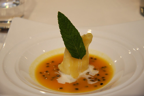 Coconut and pineapple ravioli with passionfruit