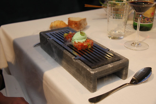 Red salmon tartare with avocado and fennel ice cream