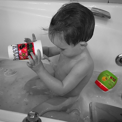 Bath time with Tweetsie Railroad cup.