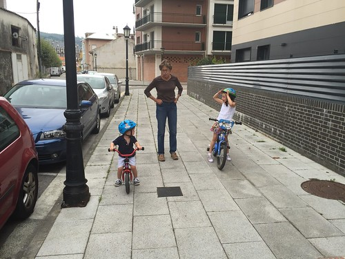 Betsy with Nora and Ian on bikes